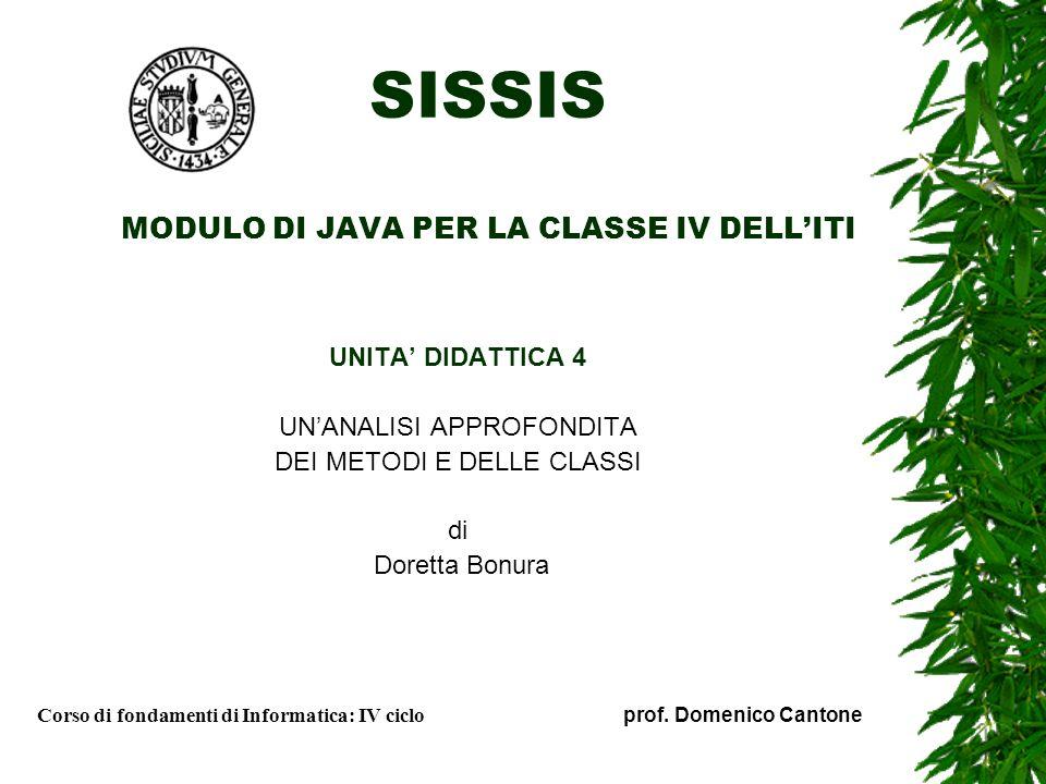 SISSIS MODULO DI JAVA PER LA CLASSE IV DELL'ITI