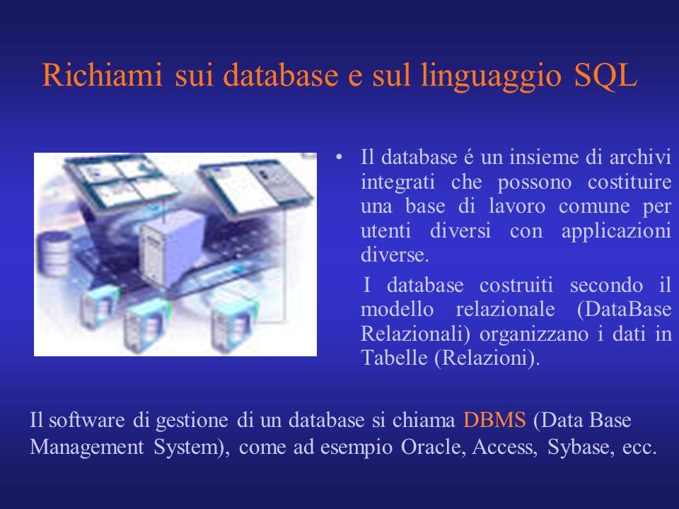 Richiami sui database e sul linguaggio SQL