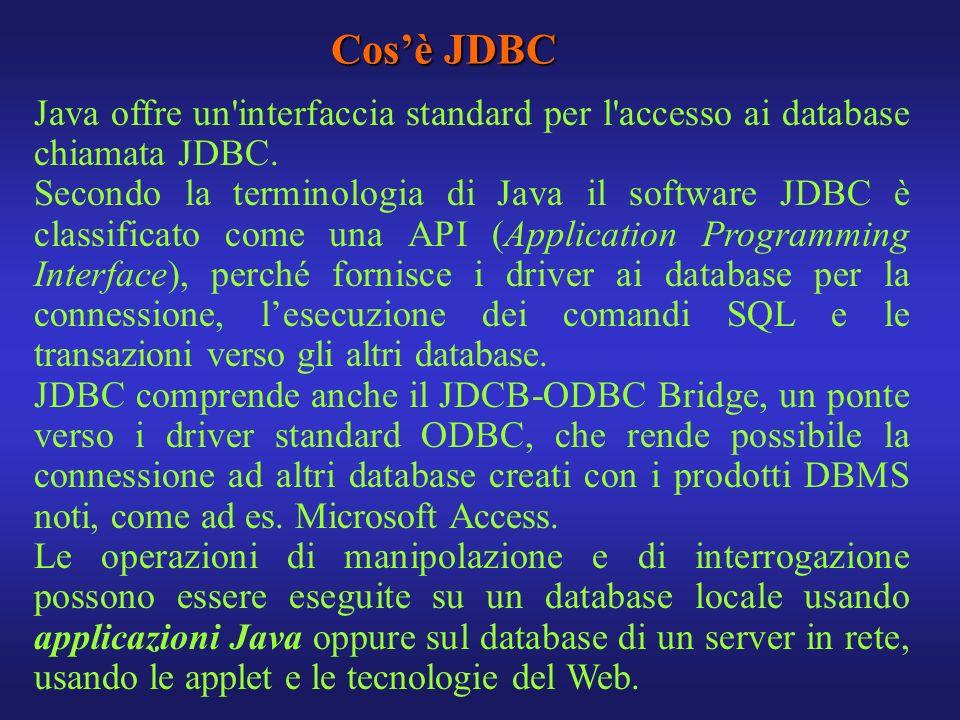 Cos'è JDBC Java offre un interfaccia standard per l accesso ai database chiamata JDBC.