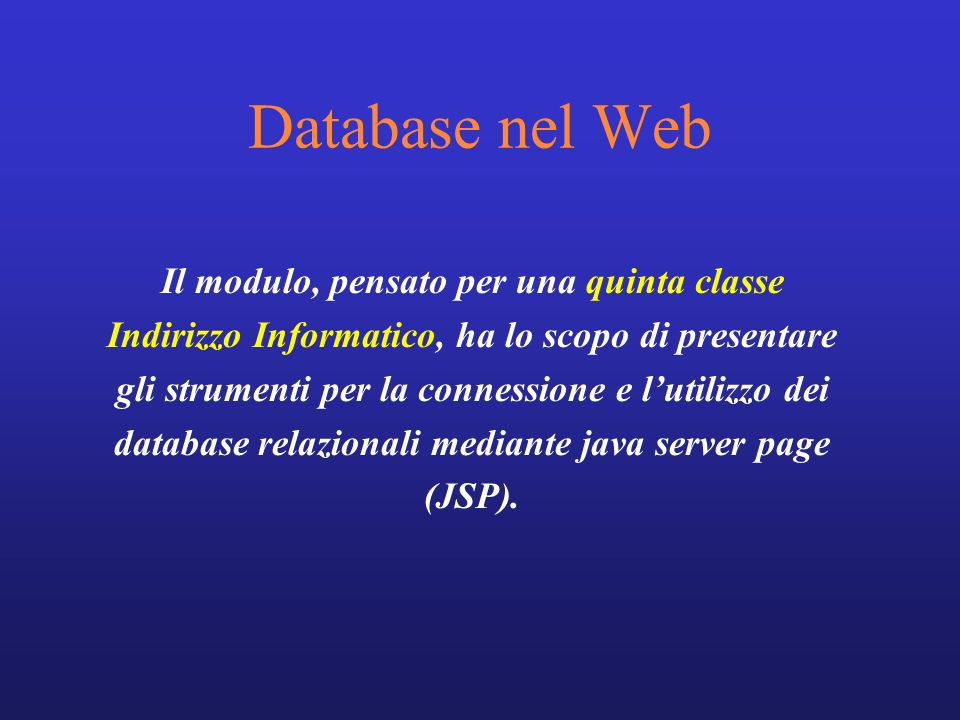 Database nel Web