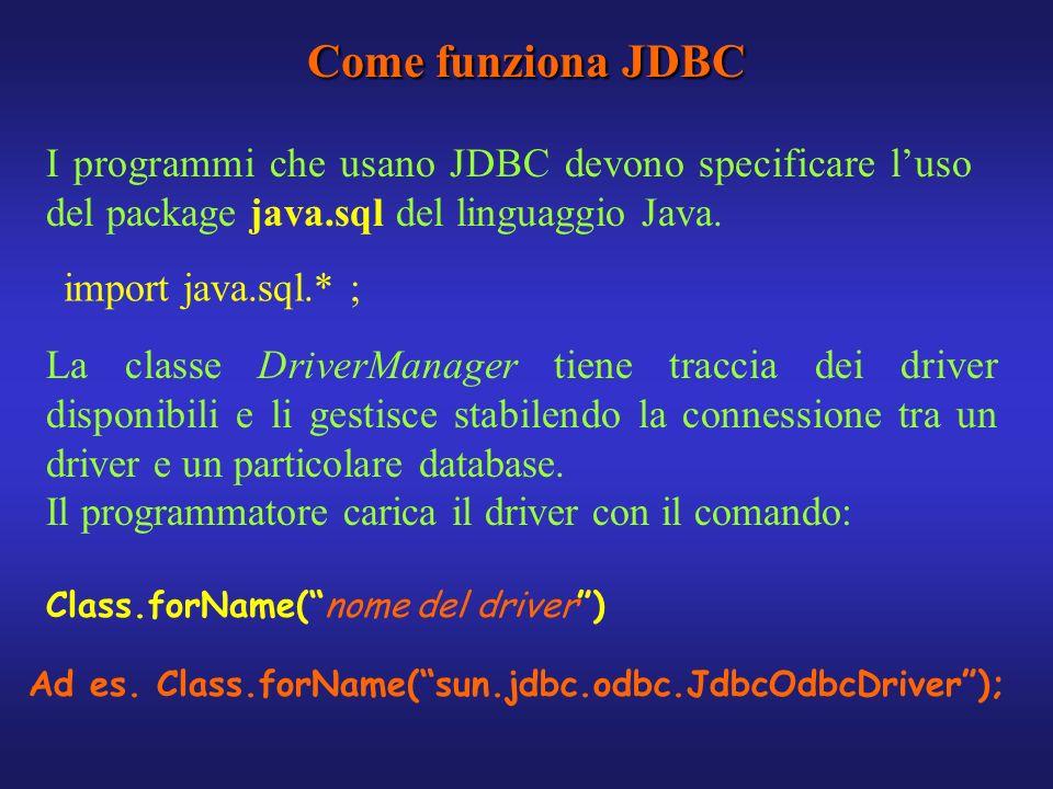 Come funziona JDBC I programmi che usano JDBC devono specificare l'uso del package java.sql del linguaggio Java.
