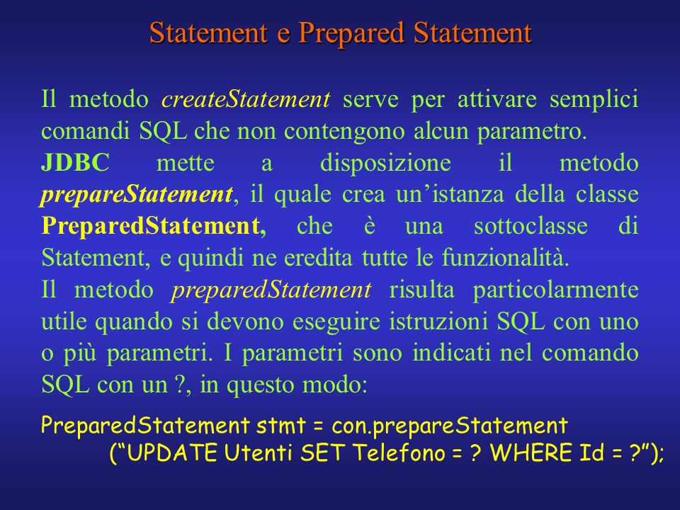 Statement e Prepared Statement