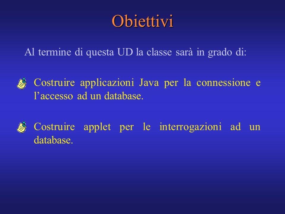 Obiettivi Al termine di questa UD la classe sarà in grado di: