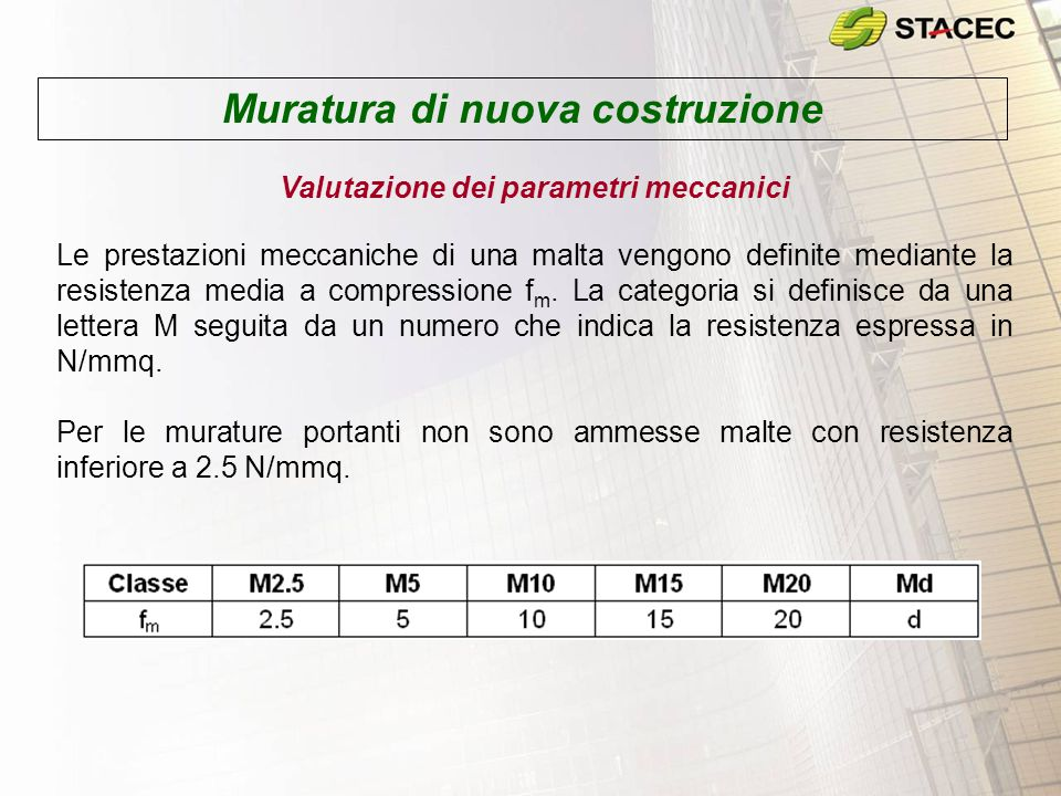 Muratura di nuova costruzione Valutazione dei parametri meccanici