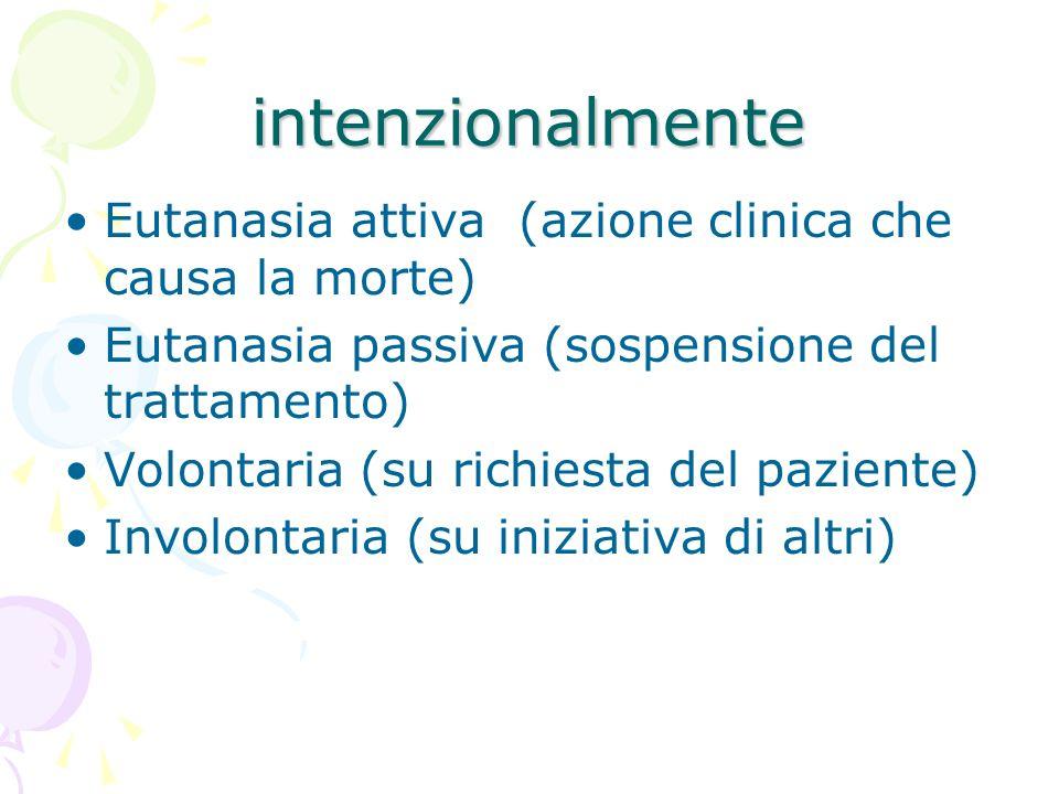 intenzionalmente Eutanasia attiva (azione clinica che causa la morte)