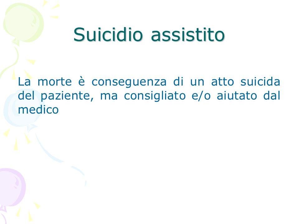 Suicidio assistitoLa morte è conseguenza di un atto suicida del paziente, ma consigliato e/o aiutato dal medico.
