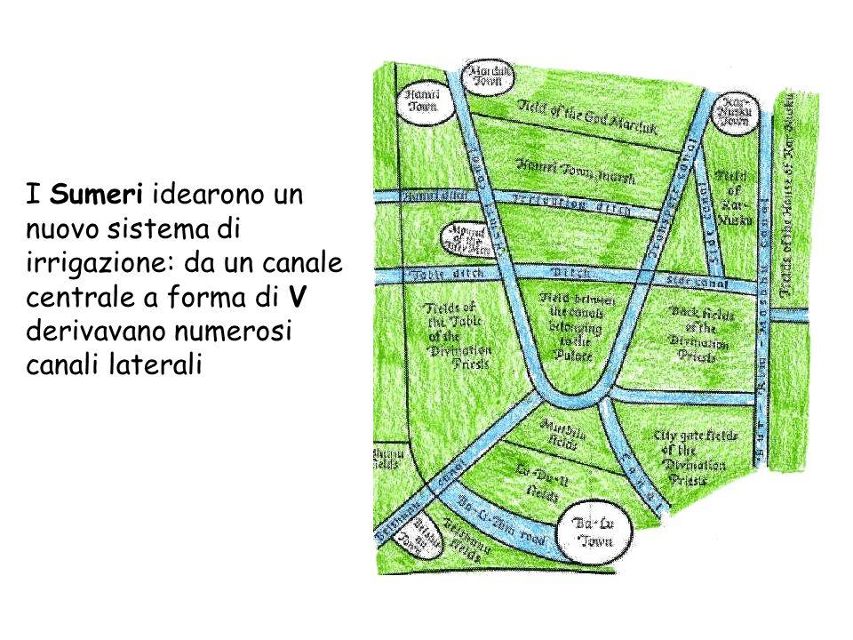 I Sumeri idearono un nuovo sistema di irrigazione: da un canale centrale a forma di V derivavano numerosi canali laterali