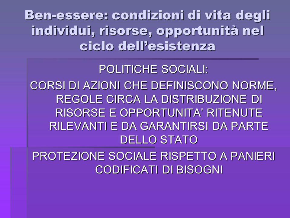 PROTEZIONE SOCIALE RISPETTO A PANIERI CODIFICATI DI BISOGNI
