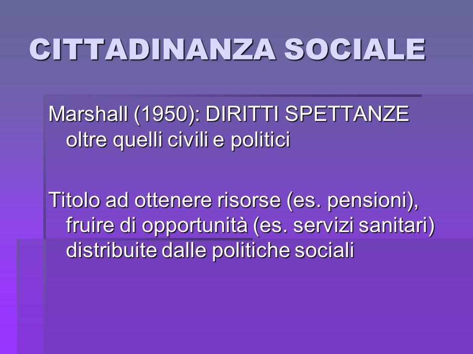 CITTADINANZA SOCIALE Marshall (1950): DIRITTI SPETTANZE oltre quelli civili e politici.