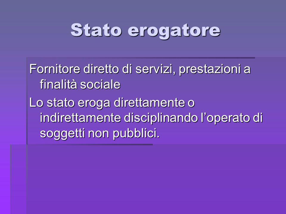 Stato erogatore Fornitore diretto di servizi, prestazioni a finalità sociale.