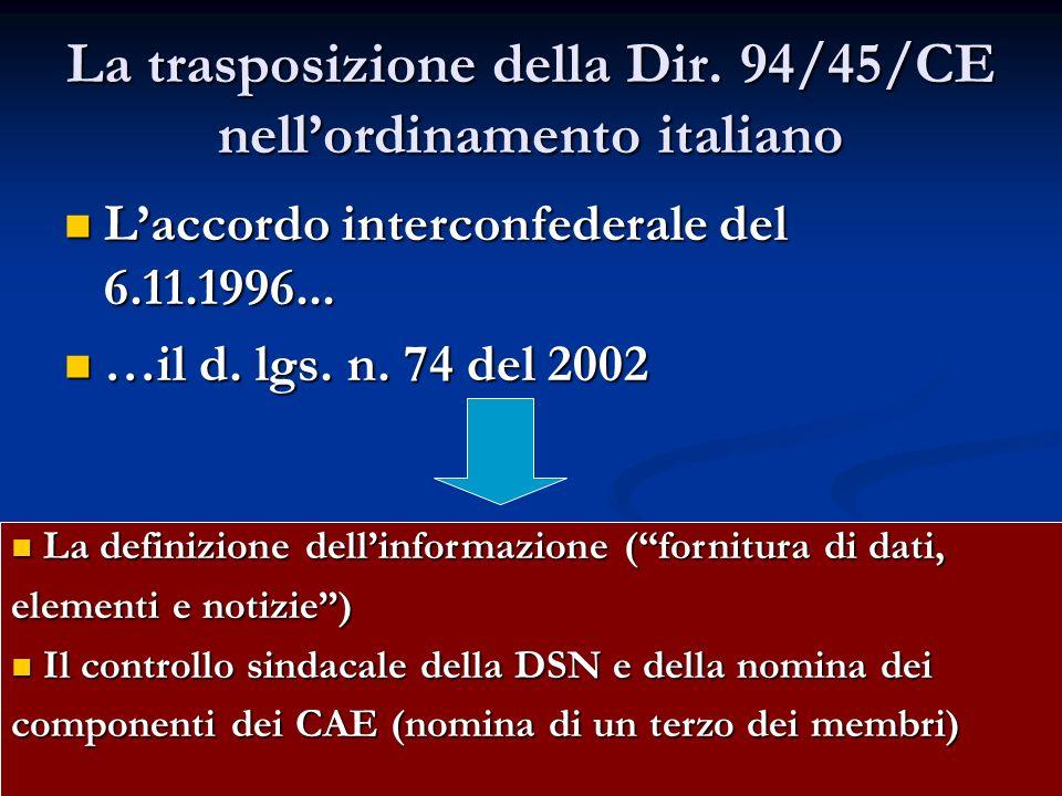 La trasposizione della Dir. 94/45/CE nell'ordinamento italiano