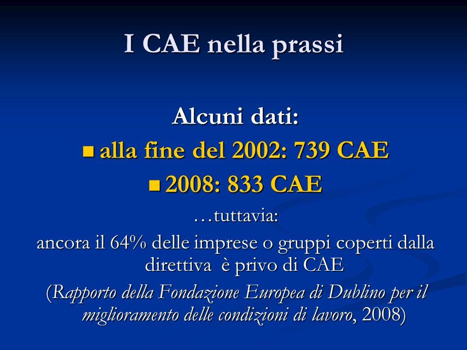 I CAE nella prassi Alcuni dati: alla fine del 2002: 739 CAE