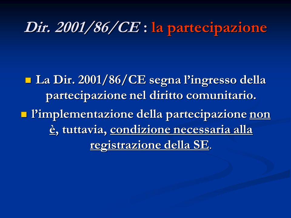 Dir. 2001/86/CE : la partecipazione