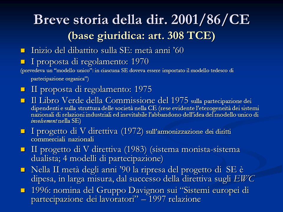 Breve storia della dir. 2001/86/CE (base giuridica: art. 308 TCE)