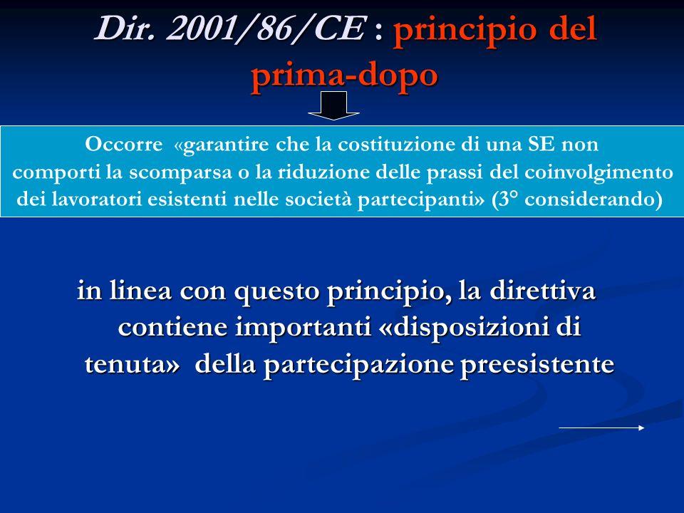 Dir. 2001/86/CE : principio del prima-dopo