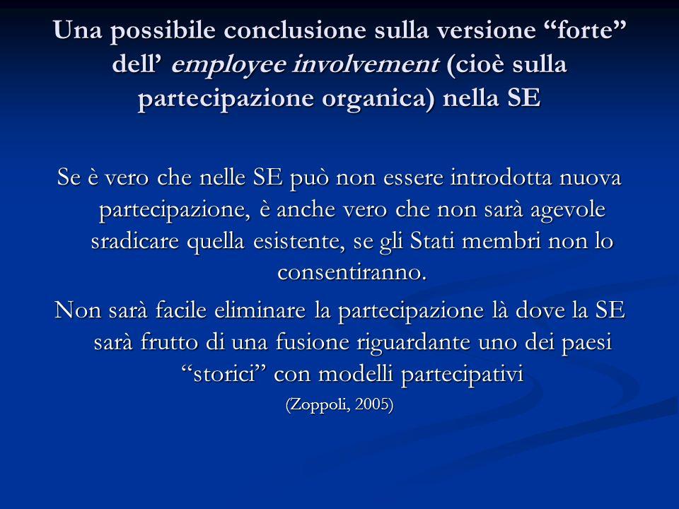 Una possibile conclusione sulla versione forte dell' employee involvement (cioè sulla partecipazione organica) nella SE