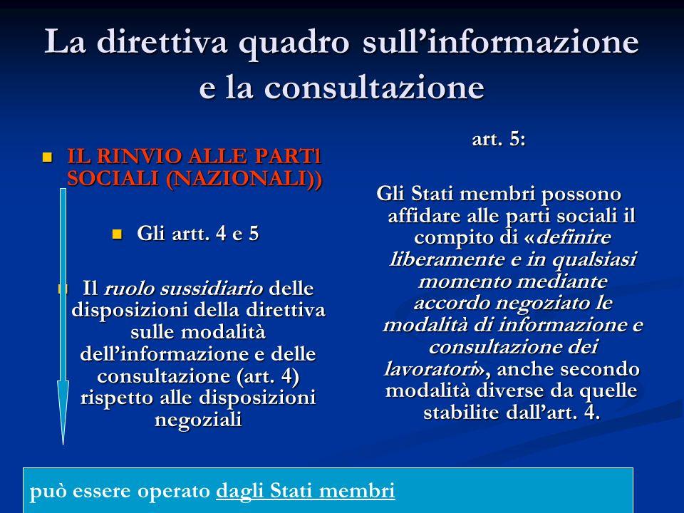 La direttiva quadro sull'informazione e la consultazione