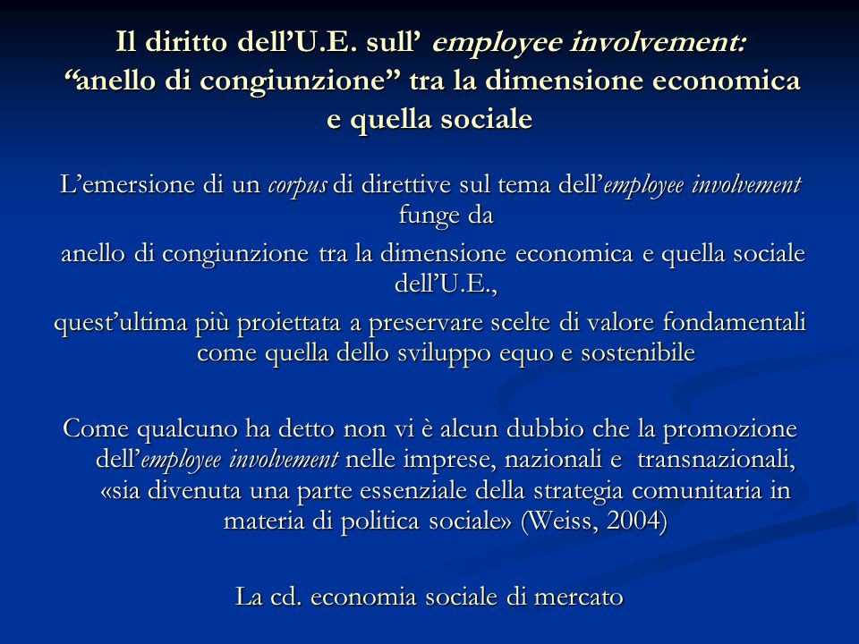 La cd. economia sociale di mercato