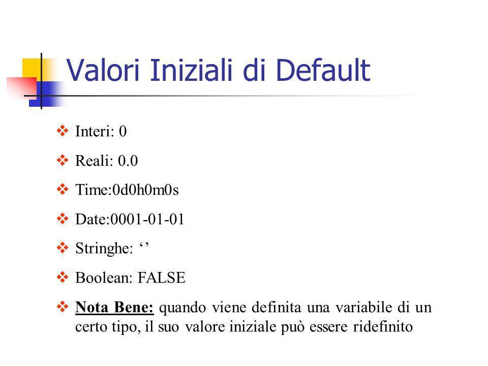 Valori Iniziali di Default