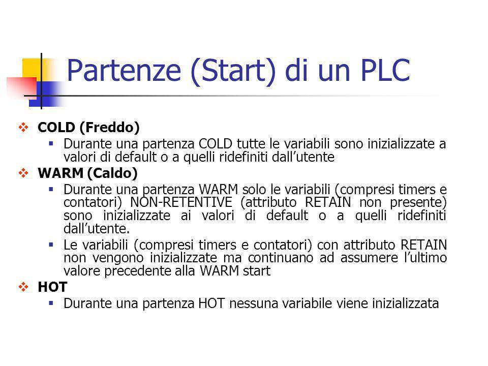 Partenze (Start) di un PLC