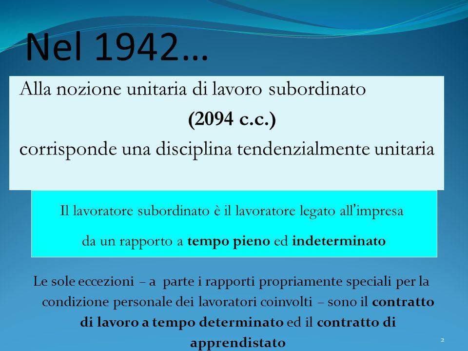 Nel 1942… Alla nozione unitaria di lavoro subordinato (2094 c.c.)