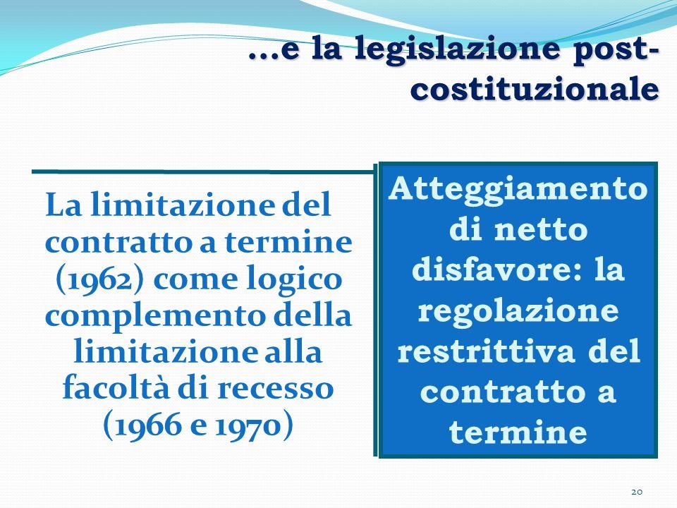 …e la legislazione post-costituzionale