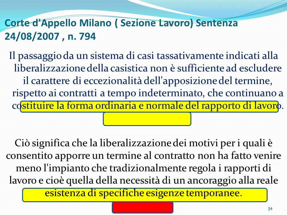 Corte d Appello Milano ( Sezione Lavoro) Sentenza 24/08/2007 , n. 794