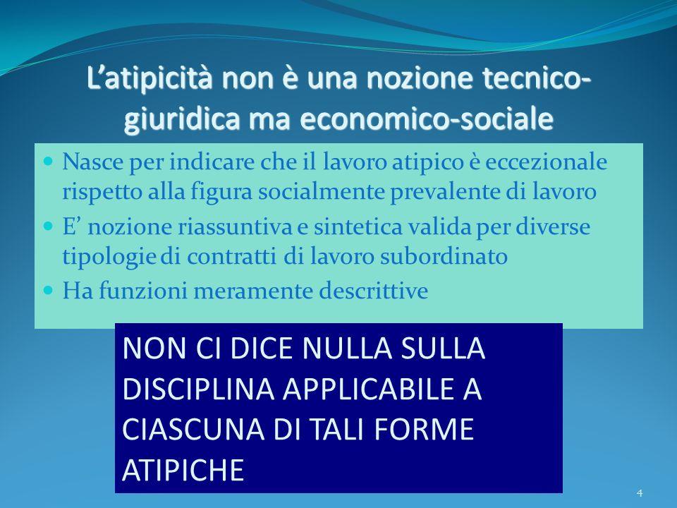 L'atipicità non è una nozione tecnico-giuridica ma economico-sociale