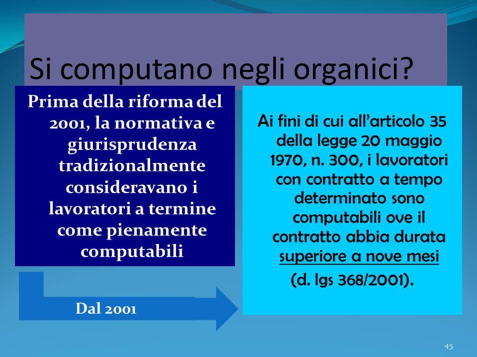 Si computano negli organici
