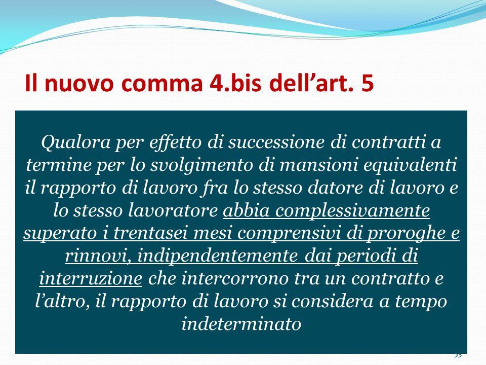 Il nuovo comma 4.bis dell'art. 5