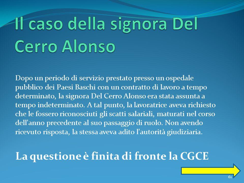 Il caso della signora Del Cerro Alonso