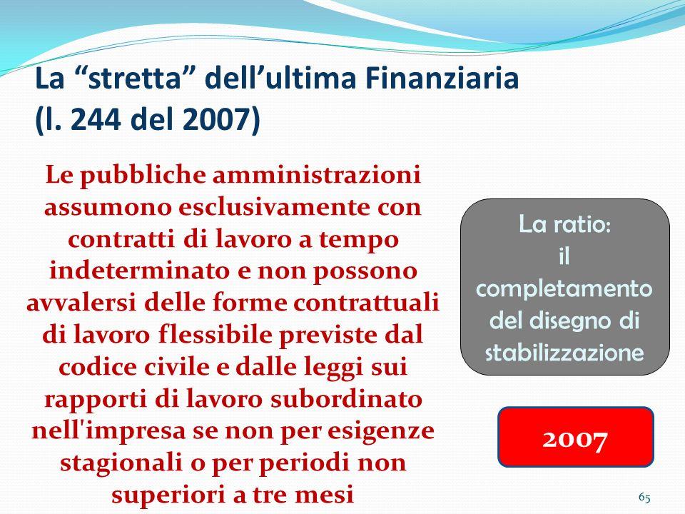 La stretta dell'ultima Finanziaria (l. 244 del 2007)