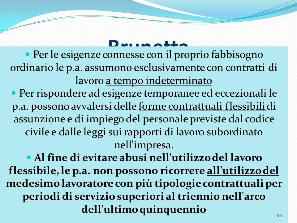 Brunetta Per le esigenze connesse con il proprio fabbisogno ordinario le p.a. assumono esclusivamente con contratti di lavoro a tempo indeterminato.