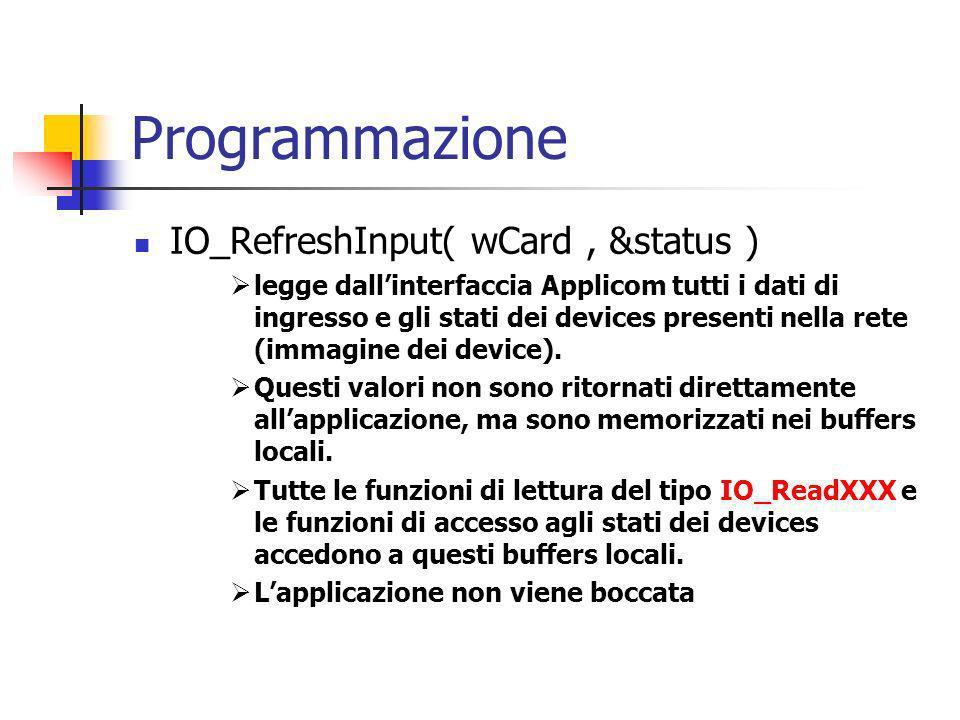 Programmazione IO_RefreshInput( wCard , &status )