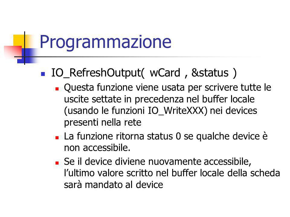 Programmazione IO_RefreshOutput( wCard , &status )