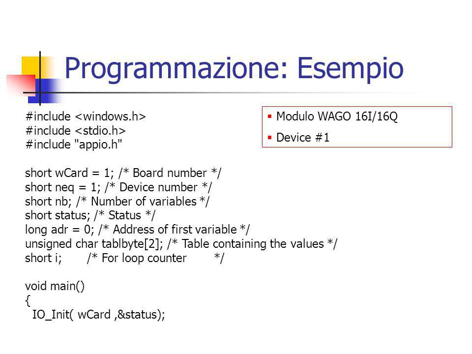 Programmazione: Esempio