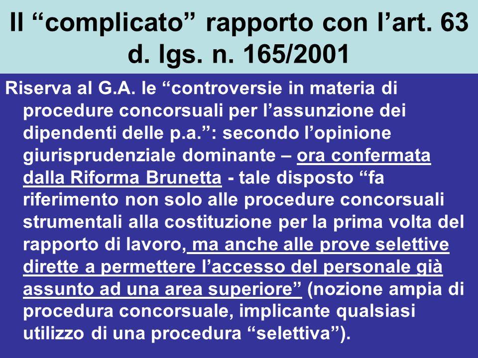 Il complicato rapporto con l'art. 63 d. lgs. n. 165/2001
