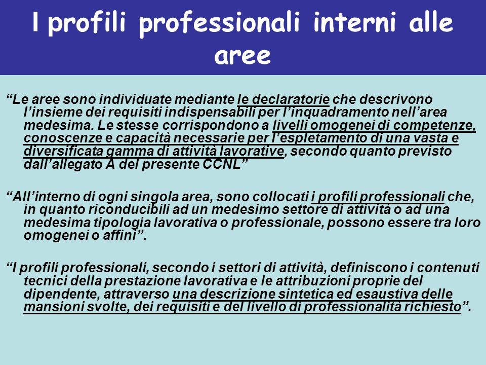 I profili professionali interni alle aree