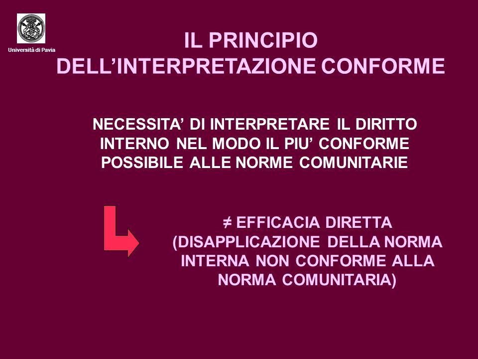 IL PRINCIPIO DELL'INTERPRETAZIONE CONFORME