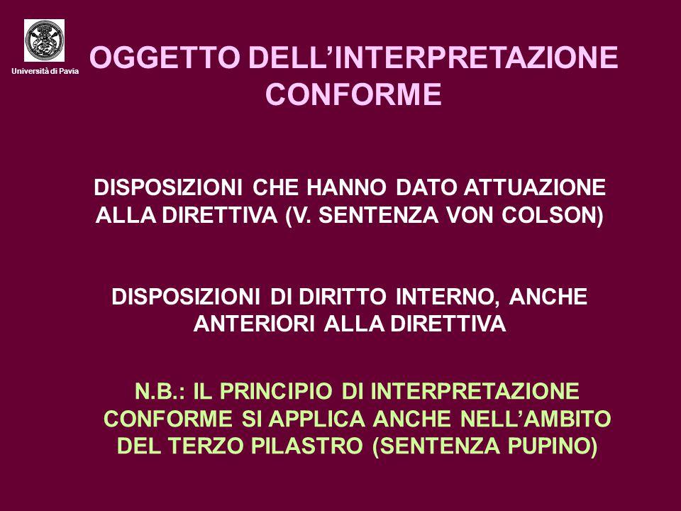 OGGETTO DELL'INTERPRETAZIONE CONFORME