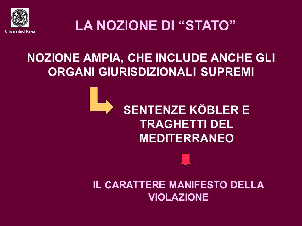 LA NOZIONE DI STATO Università di Pavia. NOZIONE AMPIA, CHE INCLUDE ANCHE GLI ORGANI GIURISDIZIONALI SUPREMI.