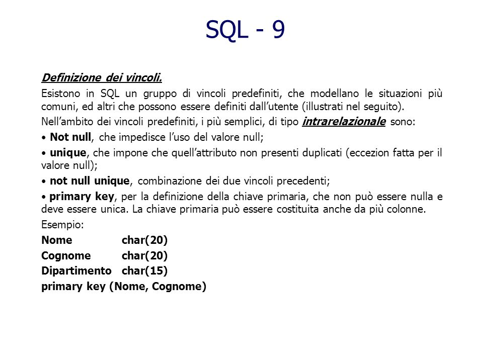 SQL - 9 Definizione dei vincoli.
