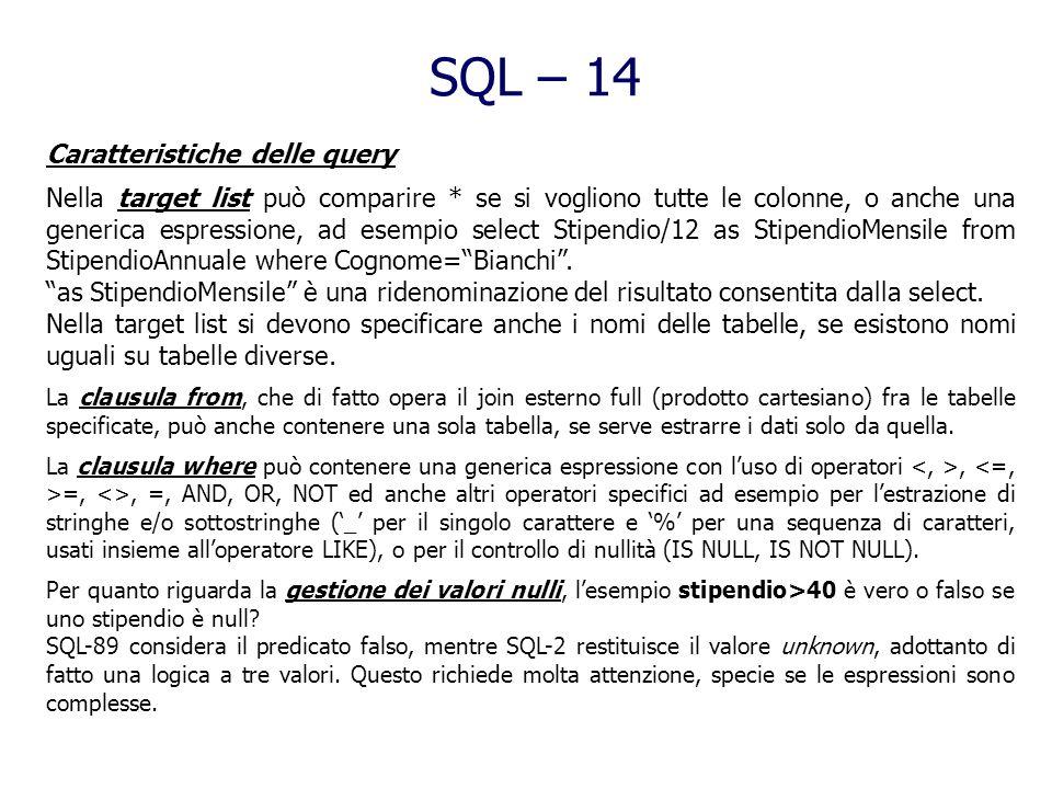 SQL – 14 Caratteristiche delle query