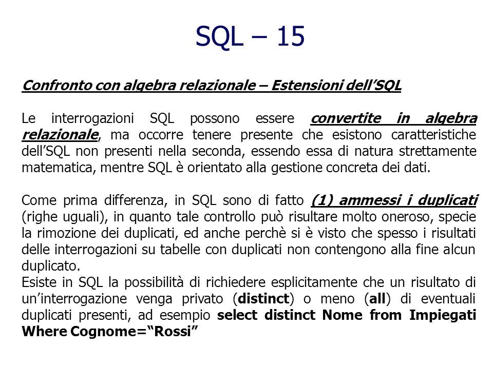 SQL – 15 Confronto con algebra relazionale – Estensioni dell'SQL