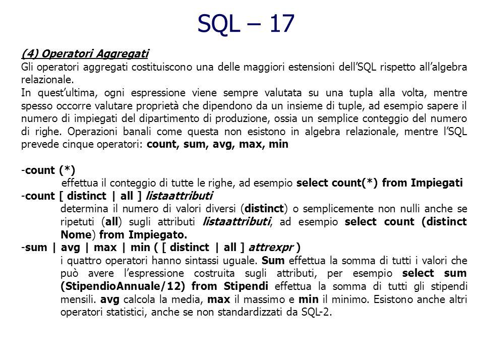 SQL – 17 (4) Operatori Aggregati