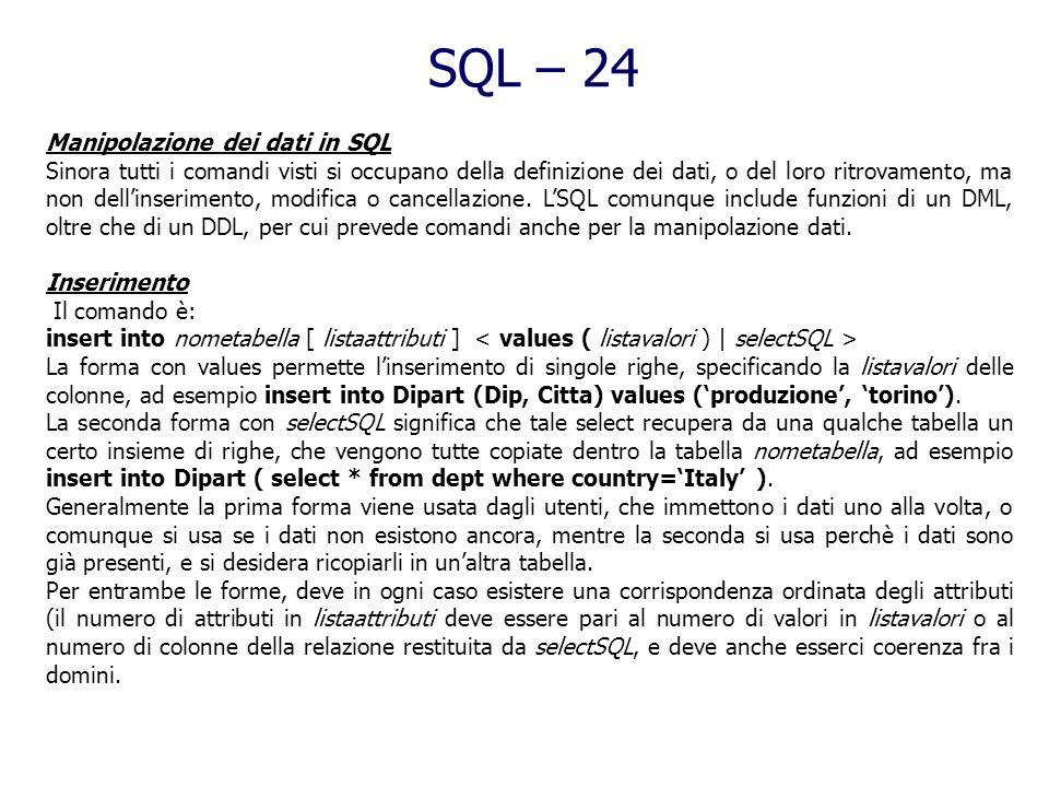 SQL – 24 Manipolazione dei dati in SQL