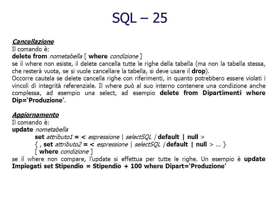 SQL – 25 Cancellazione Il comando è: