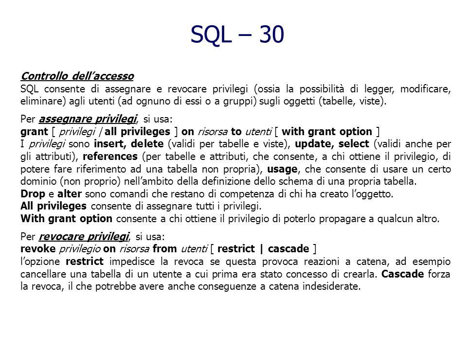 SQL – 30 Controllo dell'accesso