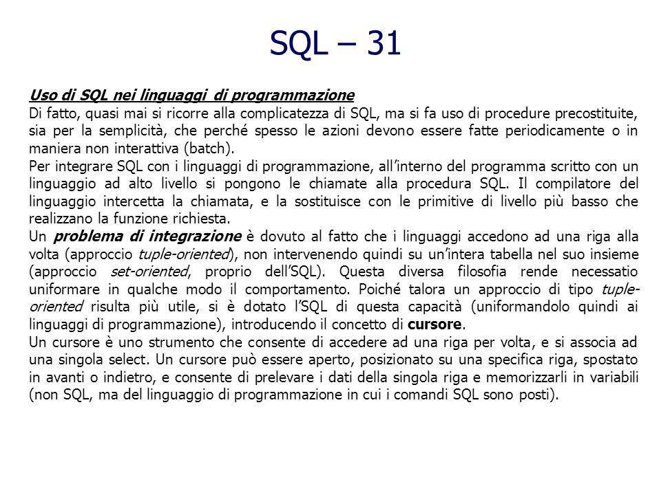SQL – 31 Uso di SQL nei linguaggi di programmazione