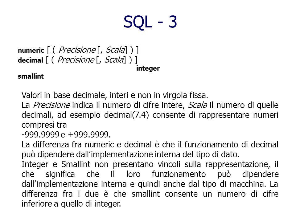 SQL - 3 Valori in base decimale, interi e non in virgola fissa.
